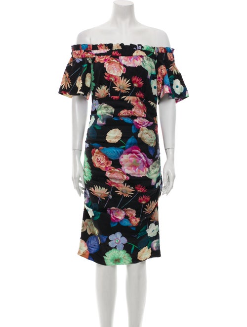 Nicole Miller Floral Print Knee-Length Dress Black