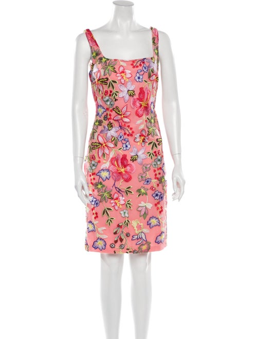 Nicole Miller Floral Print Knee-Length Dress Pink