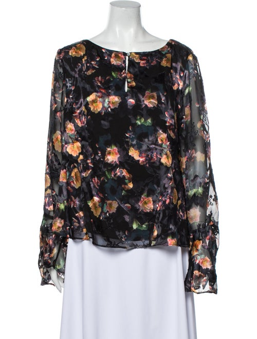Nicole Miller Floral Print Scoop Neck Blouse Black