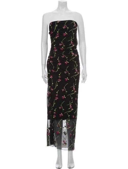 Nicole Miller Floral Print Long Dress Black