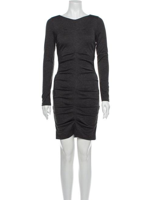 Nicole Miller Bateau Neckline Mini Dress Grey
