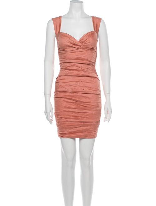 Nicole Miller Square Neckline Mini Dress Pink