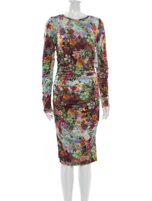 Nicole Miller Floral Print Midi Length Dress w/ Ta