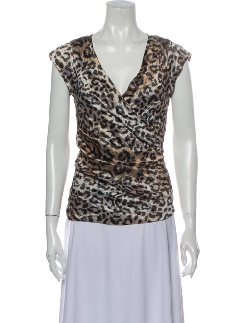 Nicole Miller Animal Print V-Neck Blouse w/ Tags B