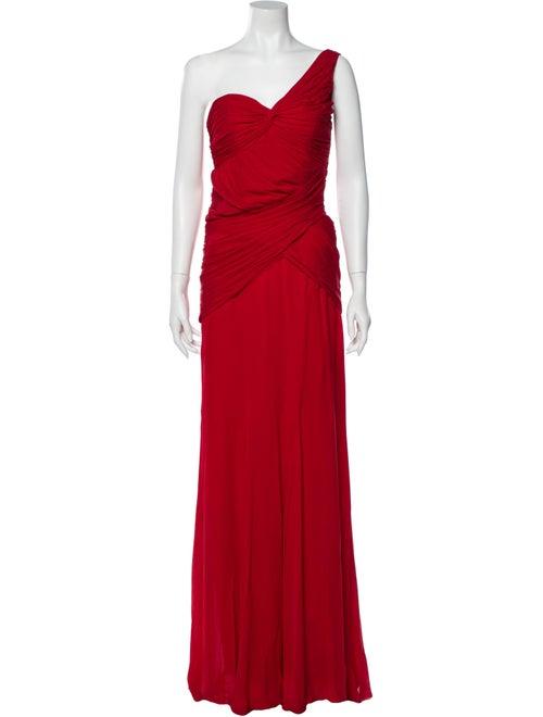 Nicole Miller One-Shoulder Long Dress Red