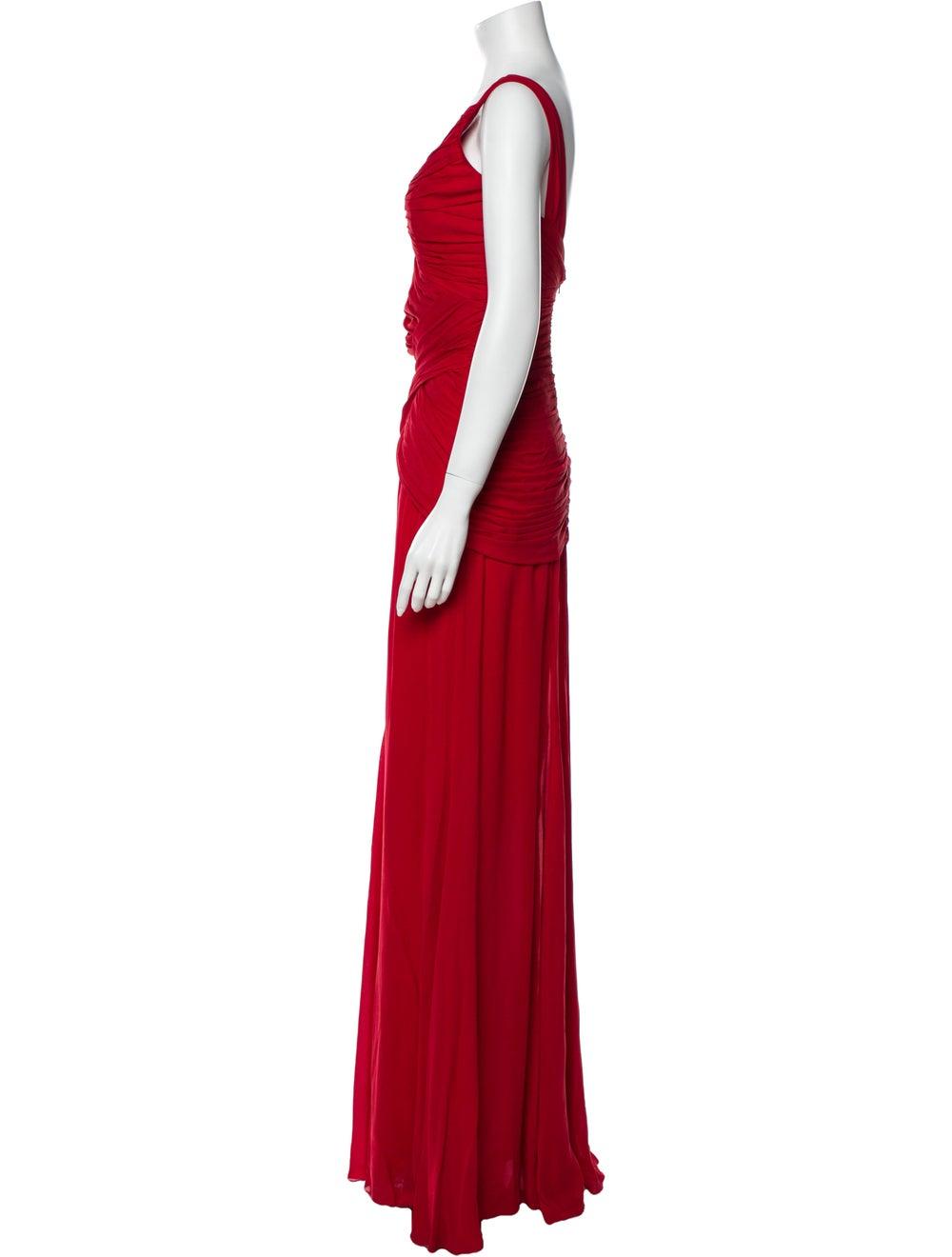 Nicole Miller One-Shoulder Long Dress Red - image 2