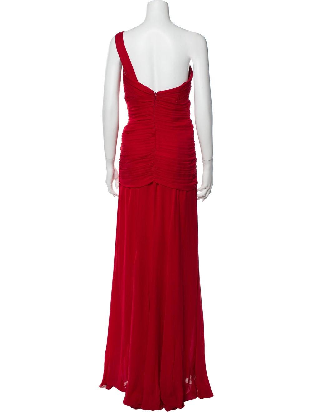Nicole Miller One-Shoulder Long Dress Red - image 3