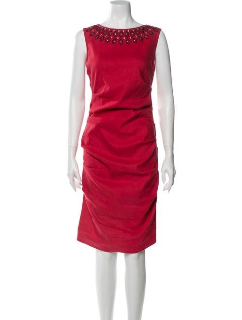 Nicole Miller Bateau Neckline Midi Length Dress Re