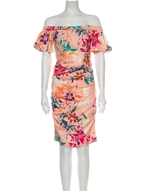 Nicole Miller Floral Print Knee-Length Dress