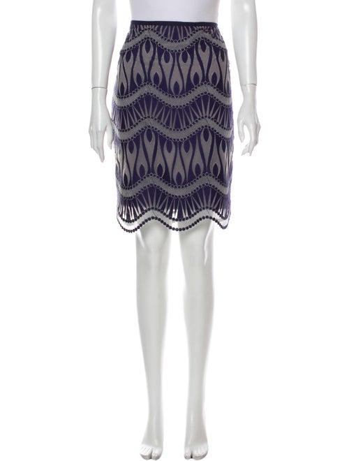 Nicole Miller Printed Knee-Length Skirt Blue