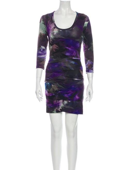 Nicole Miller Printed Mini Dress Purple