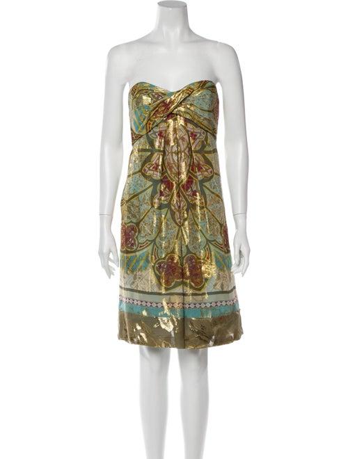 Nicole Miller Silk Mini Dress Gold