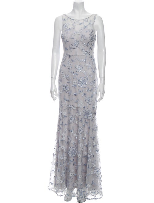 Nicole Miller Floral Print Long Dress Blue