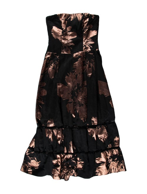 Nicole Miller Floral Print Midi Length Dress Black