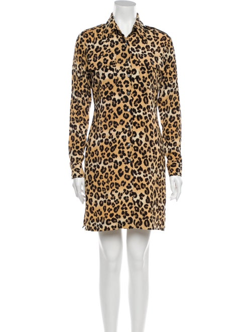 Nicole Miller Animal Print Mini Dress Brown