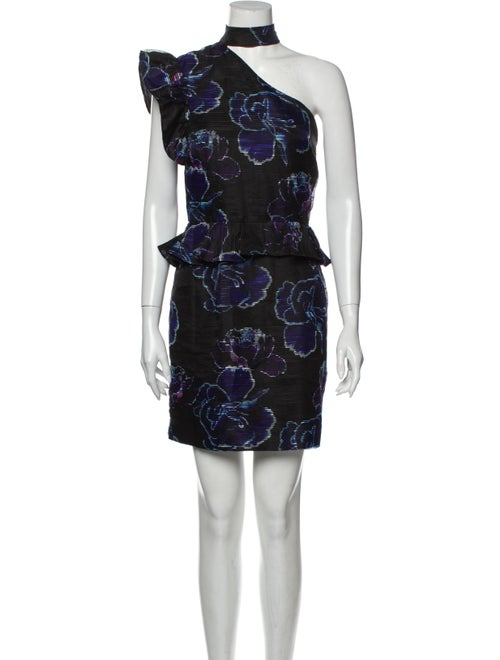 Nicole Miller Floral Print Mini Dress Black