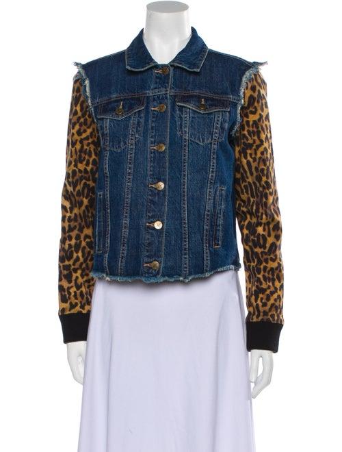 Nicole Miller Animal Print Denim Jacket Denim