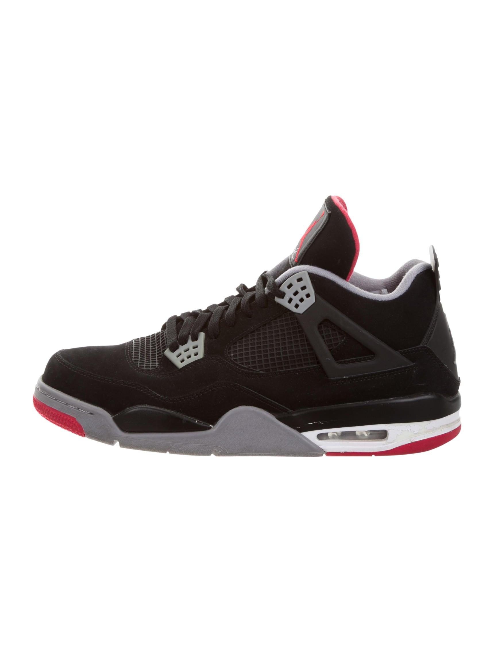 nike air jordan 4 retro bred sneakers shoes wniaj20141 the realreal. Black Bedroom Furniture Sets. Home Design Ideas