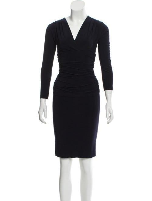 Norma Kamali Plunge Neckline Knee-Length Dress Blu