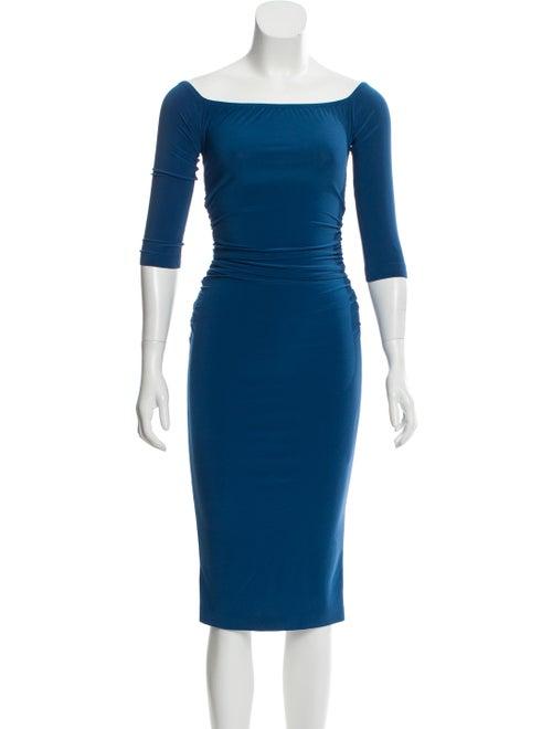 Norma Kamali Bateau Neckline Midi Length Dress Blu