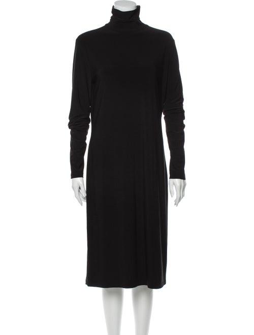 Norma Kamali Turtleneck Knee-Length Dress Black