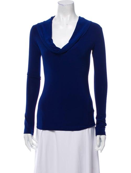 Norma Kamali Cowl Neck Long Sleeve Top Blue