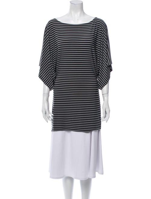 Norma Kamali Striped Bateau Neckline Tunic Grey