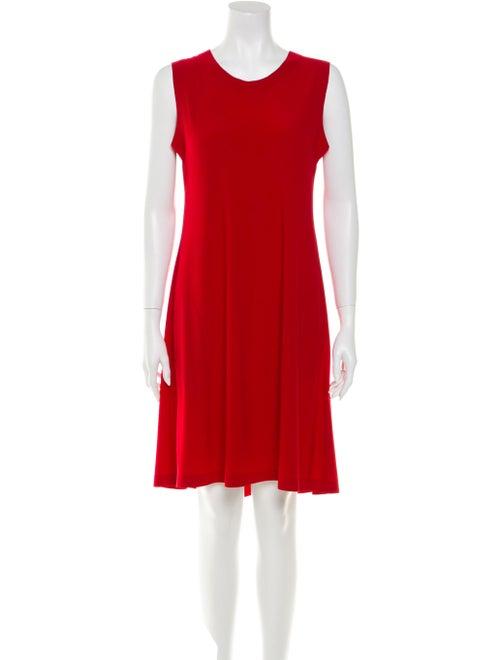 Norma Kamali Crew Neck Knee-Length Dress Red