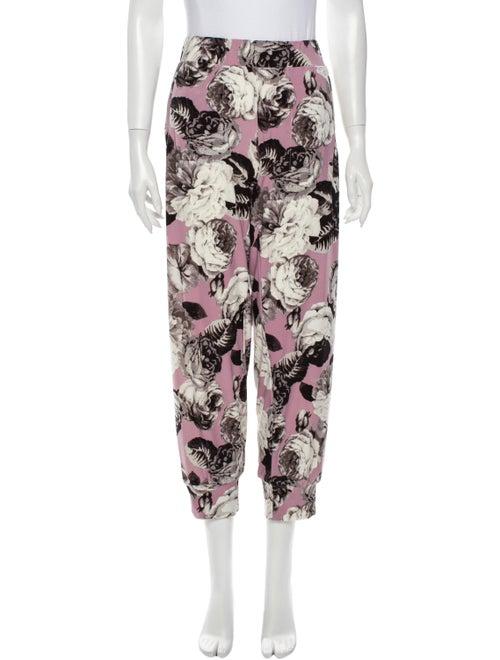 Norma Kamali Floral Print Straight Leg Pants