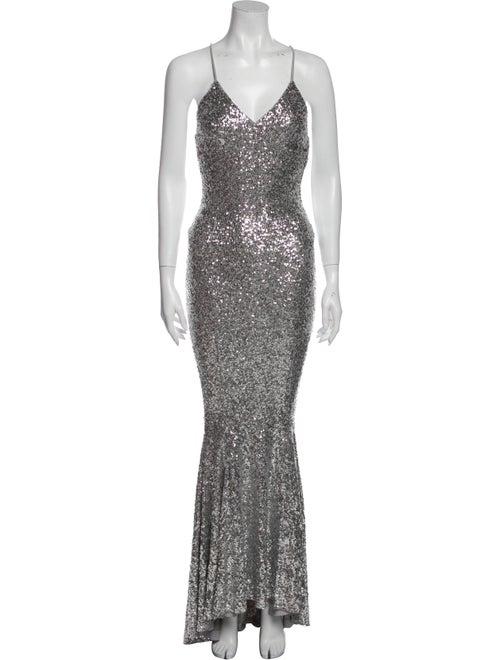 Norma Kamali V-Neck Long Dress Silver