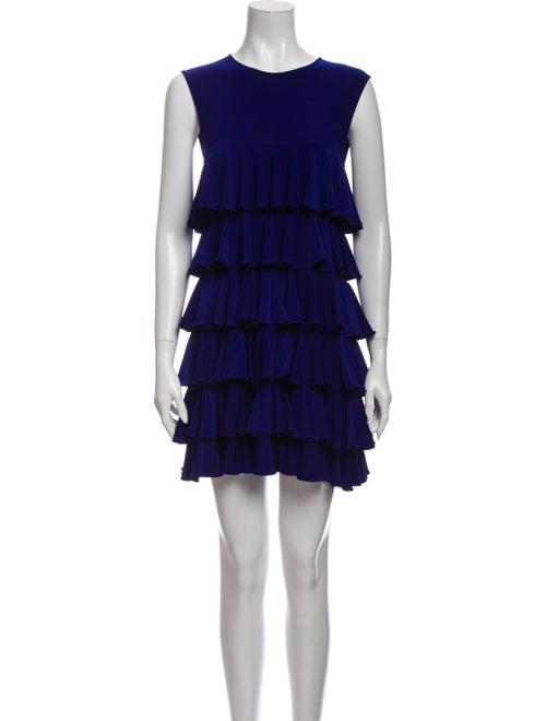 Norma Kamali Crew Neck Mini Dress Blue