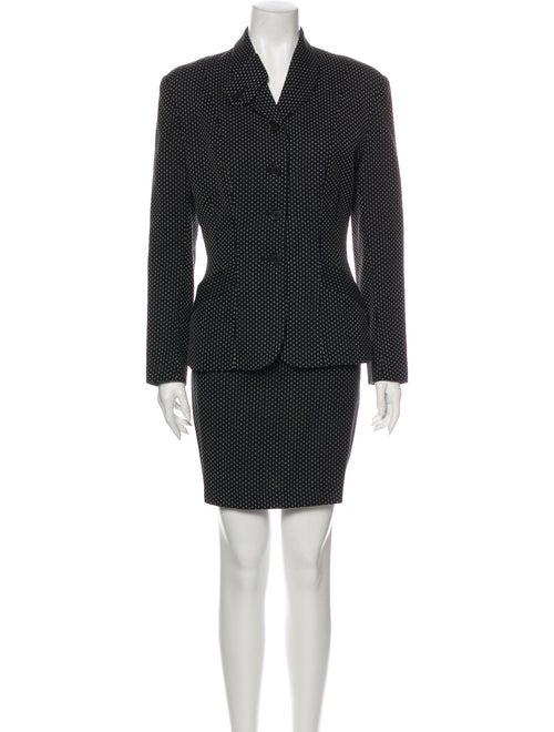 Norma Kamali Wool Polka Dot Print Skirt Suit Wool