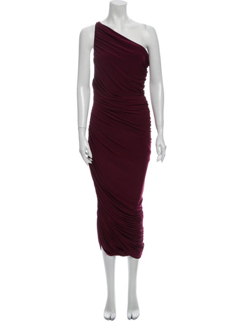 Norma Kamali One-Shoulder Midi Length Dress Purple