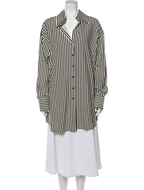 Norma Kamali Silk Striped Tunic w/ Tags Black