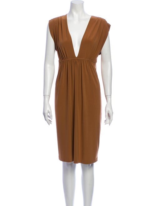 Norma Kamali V-Neck Knee-Length Dress Brown