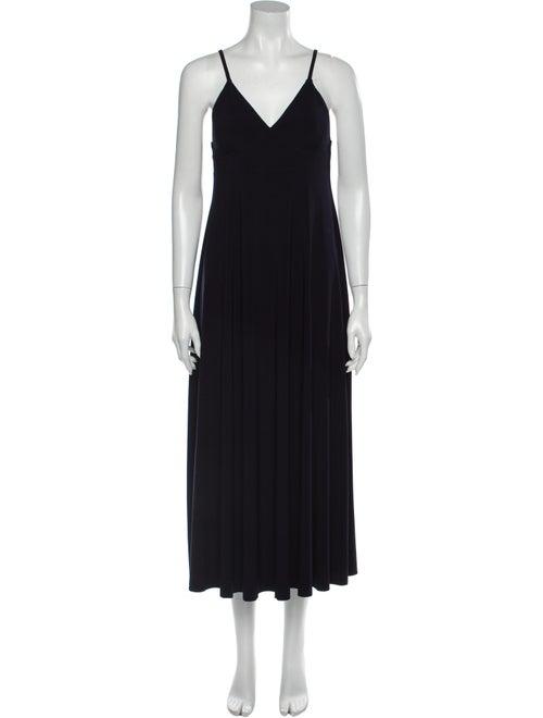 Norma Kamali V-Neck Long Dress Blue