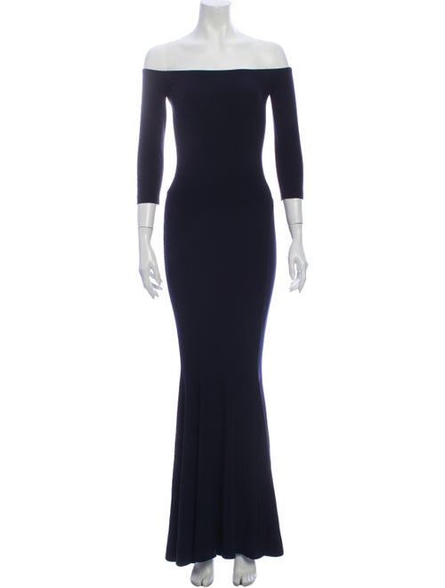 Norma Kamali Off-The-Shoulder Long Dress Blue