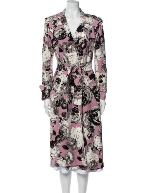 Norma Kamali Floral Print Trench Coat Purple