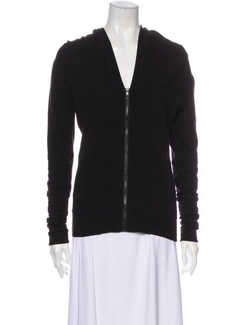 Norma Kamali V-Neck Long Sleeve Sweatshirt Black