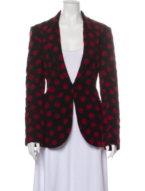 Norma Kamali Wool Polka Dot Print Blazer Wool