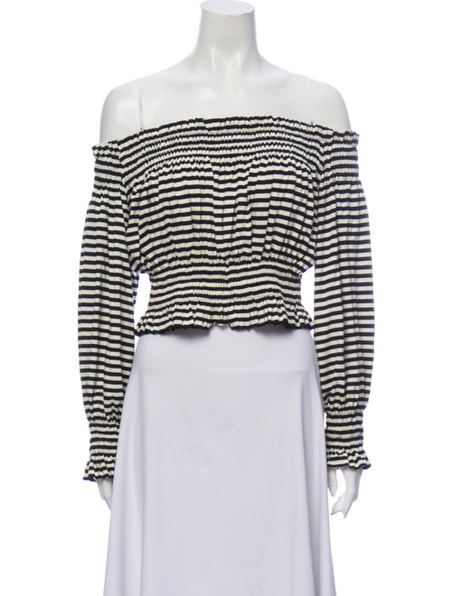 Norma Kamali Striped Off-The-Shoulder Crop Top Bla
