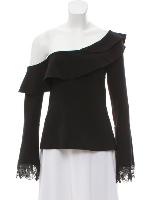 N / Nicholas Off-The-Shoulder Ruffle Blouse Black