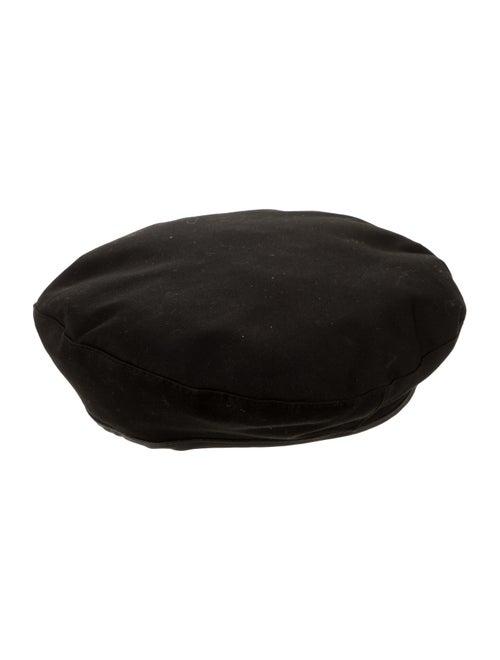 Noah Leather-Trimmed Woven Beret black