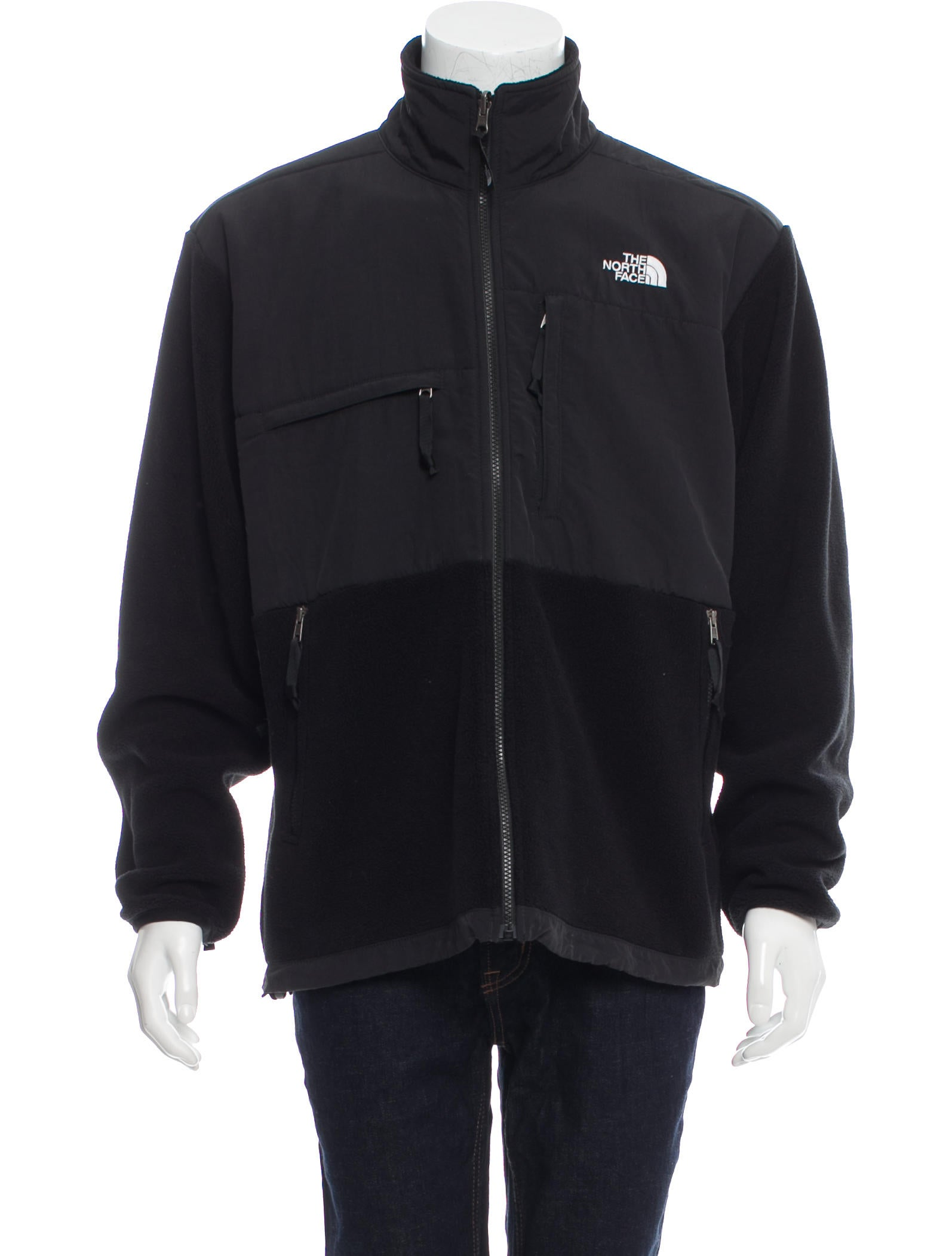 The north face logo embroidered fleece jacket clothing