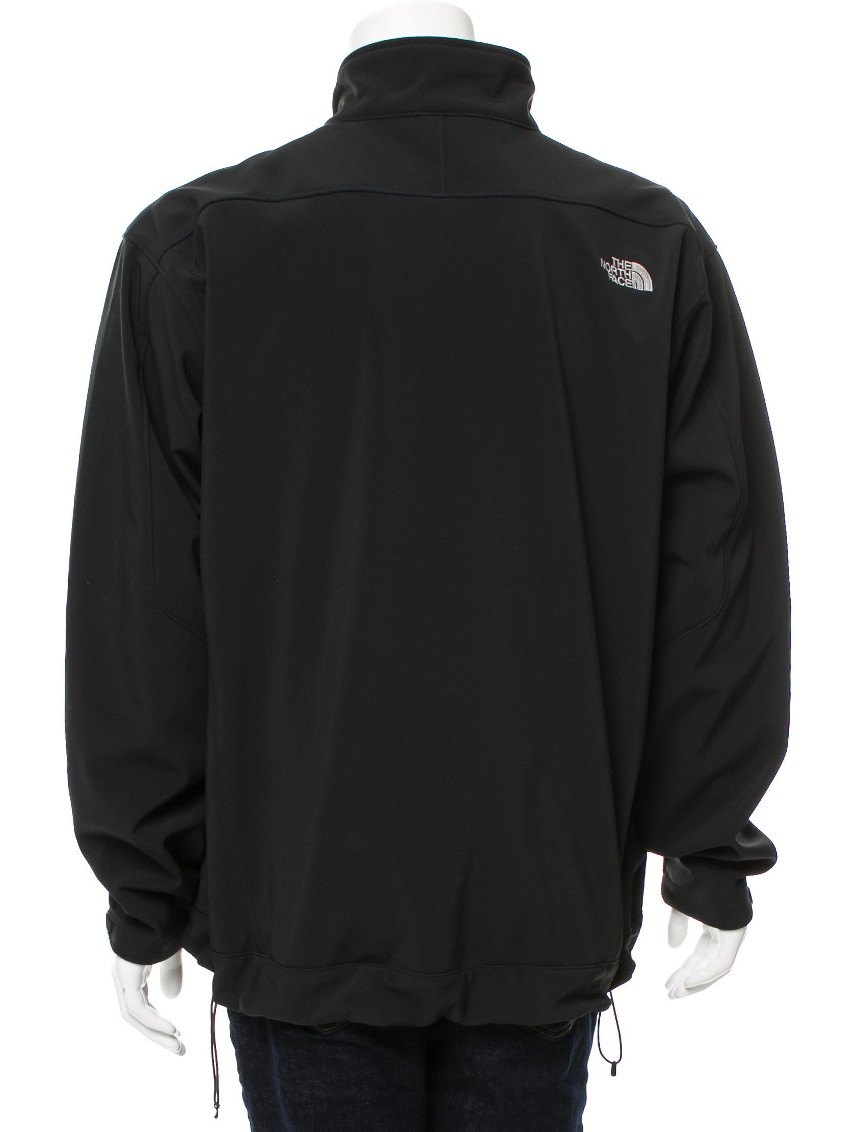 The north face logo embroidered zip up jacket clothing