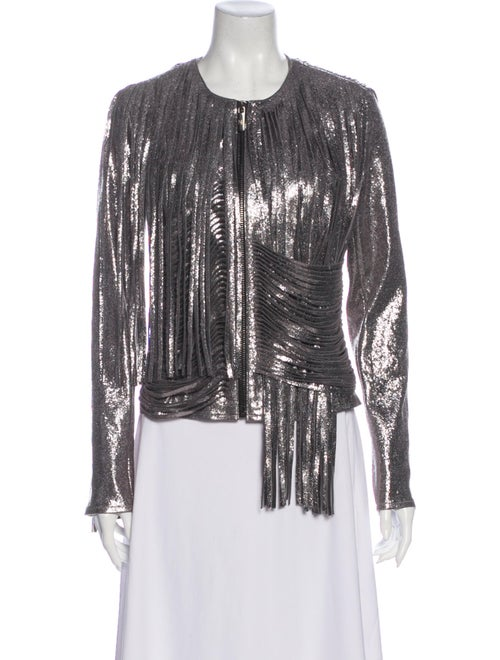 Nour Hammour Tweed Pattern Evening Jacket Silver