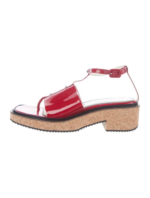 Nicole Saldana Patent Leather T-Strap Sandals Red