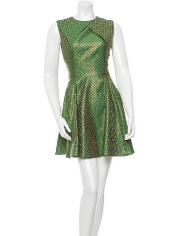 Brocade Metallic-Accented Dress