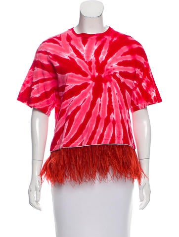 Opening Ceremony Feather Accented Short Sleeve T-Shirt None