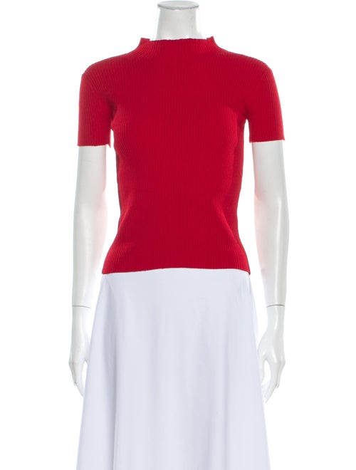Occhii Mock Neck Short Sleeve Top Red